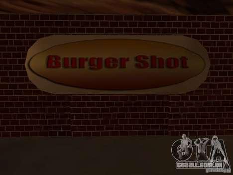 New Burger Shot para GTA San Andreas por diante tela