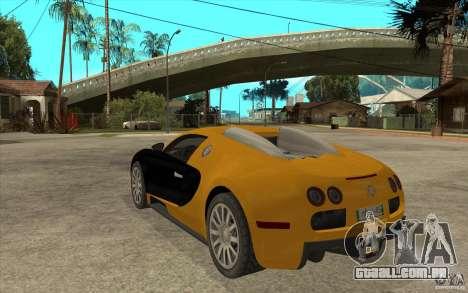 Bugatti Veyron v1.0 para GTA San Andreas traseira esquerda vista