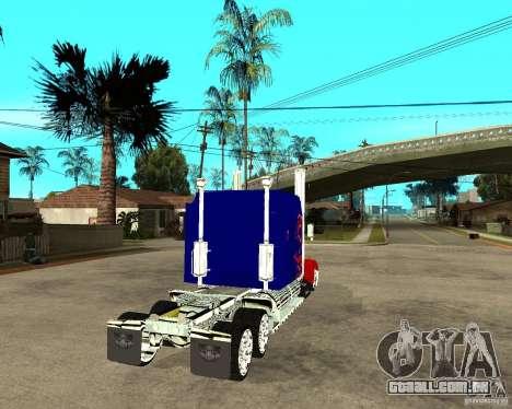 Truck Optimus Prime para GTA San Andreas traseira esquerda vista