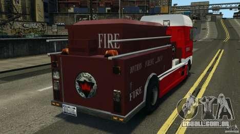 DAF XF Firetruck para GTA 4 traseira esquerda vista