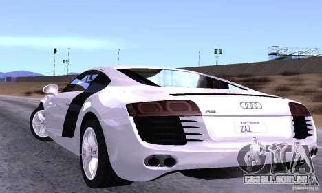 Audi R8 4.2 FSI para GTA San Andreas traseira esquerda vista