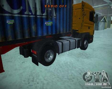 Scania 164L para GTA San Andreas traseira esquerda vista