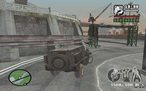 Caminhão militar para GTA San Andreas vista traseira