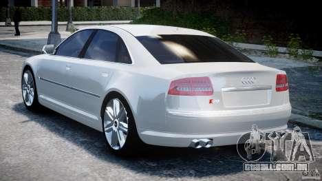 Audi S8 D3 2009 para GTA 4 traseira esquerda vista