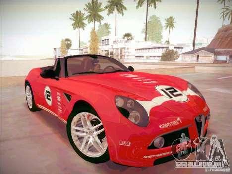 Alfa Romeo 8C Spider para GTA San Andreas vista traseira