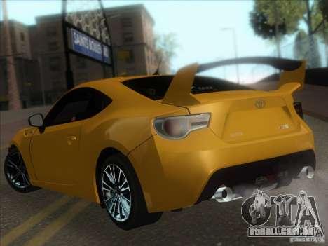Toyota GT86 2012 para GTA San Andreas vista traseira