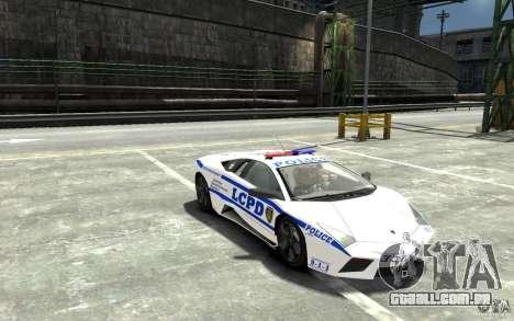 Lamborghini Reventon LCPD para GTA 4 vista de volta