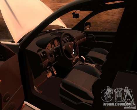 Porsche Cayenne Turbo S para GTA San Andreas vista interior
