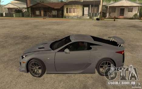Lexus LFA 2010 para GTA San Andreas esquerda vista