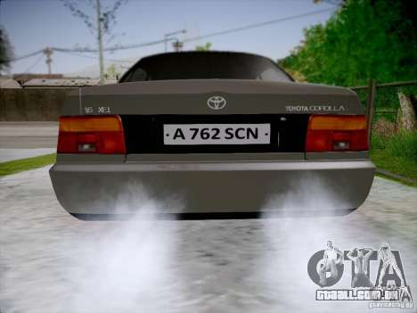Toyota Corolla para GTA San Andreas traseira esquerda vista