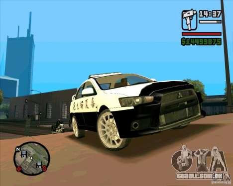 Mitsubishi Lancer EVO X Japan Police para GTA San Andreas esquerda vista
