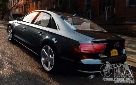 Audi A8 2010 V8 FSI para GTA 4 esquerda vista