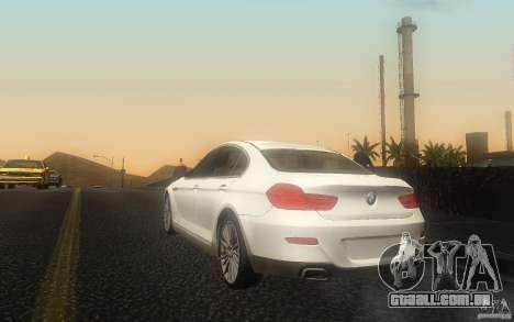 BMW 6 Series Gran Coupe 2013 para GTA San Andreas traseira esquerda vista