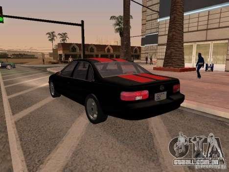 Chevrolet Impala SS 1995 para vista lateral GTA San Andreas