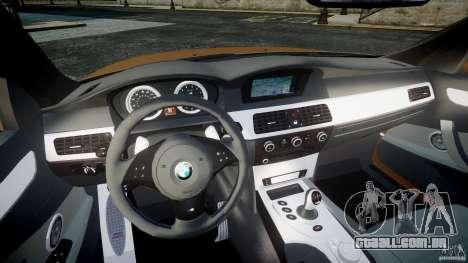 BMW M5 E60 2009 para GTA 4 vista de volta