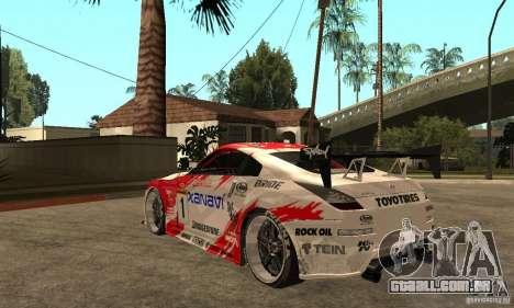 Nissan 350Z Xanavi para GTA San Andreas traseira esquerda vista
