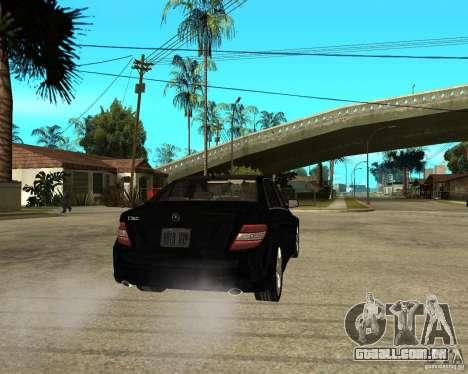 Mercedes Benz C350 W204 Avantgarde para GTA San Andreas traseira esquerda vista