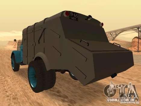 Caminhão de lixo de GAZ-51 para GTA San Andreas traseira esquerda vista
