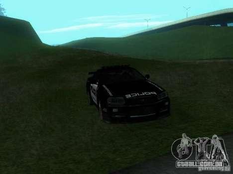 Nissan Skyline R34 Police para GTA San Andreas vista interior