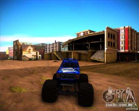 Monster Truck Blue Thunder para GTA San Andreas traseira esquerda vista