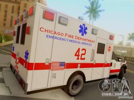 Ford F350 Super Duty Chicago Fire Department EMS para GTA San Andreas vista direita
