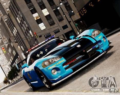 Dodge Viper SRT-10 ACR 2009 Police ELS para GTA 4 vista de volta