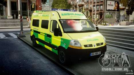 Renault Master 2007 Ambulance Scottish [ELS] para GTA 4 vista de volta