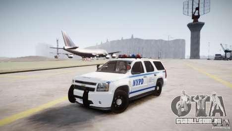 Chevrolet Tahoe 2012 NYPD para GTA 4 vista de volta