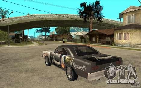 Plymouth Roadrunner Superbird Custom para GTA San Andreas traseira esquerda vista