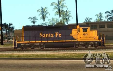 Locomotiva SD 40 Santa Fe azul/amarelo para GTA San Andreas esquerda vista