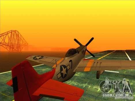 P51D Mustang Red Tails para GTA San Andreas esquerda vista
