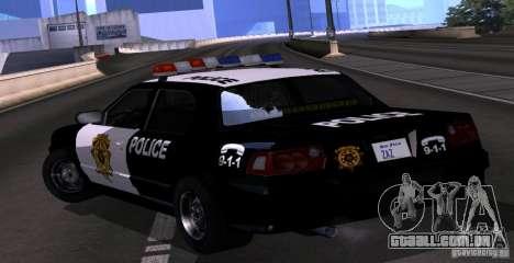 NFS Undercover Police Car para GTA San Andreas esquerda vista