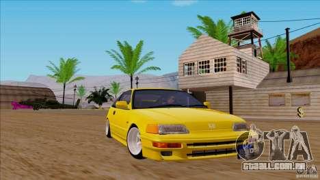 Honda CRX Hella Flush para GTA San Andreas traseira esquerda vista