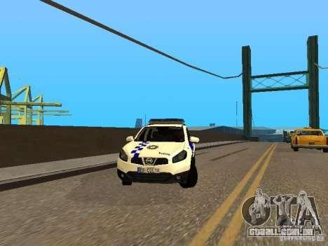 Nissan Qashqai Espaqna Police para GTA San Andreas vista traseira