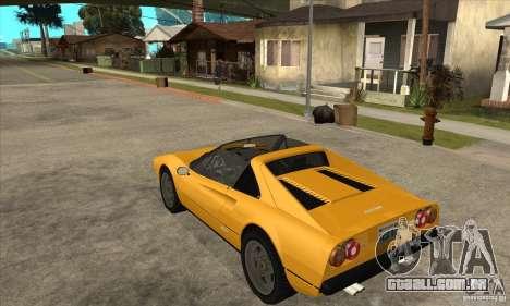 Ferrari 308 GTS Quattrovalvole para GTA San Andreas traseira esquerda vista