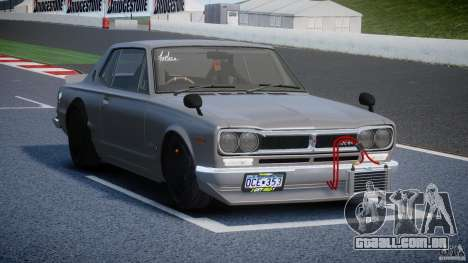 Nissan Skyline Hakosuka (KPGC10) Mountain Drift para GTA 4 vista interior