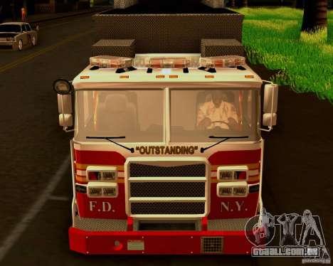 Pumper Firetruck Pierce F.D.N.Y para GTA San Andreas vista traseira