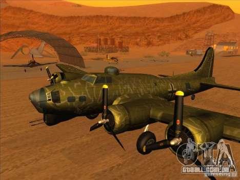 G B-17 Flying Fortress (versão Nightfighter) para GTA San Andreas traseira esquerda vista