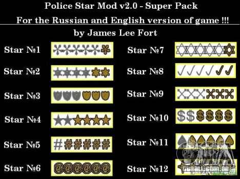 Novas estrelas para o capuz # 9 para GTA San Andreas