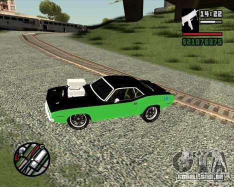 Plymouth Hemi Cuda 440 para GTA San Andreas vista traseira