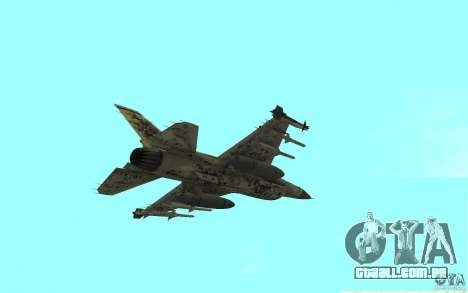 F16C Fighting Falcon para GTA San Andreas traseira esquerda vista
