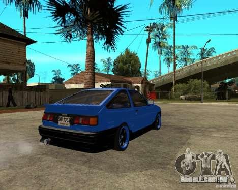 Toyota Corolla AE86 para GTA San Andreas traseira esquerda vista