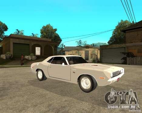 Dodge Challenger R/T Hemi 70 para GTA San Andreas vista direita