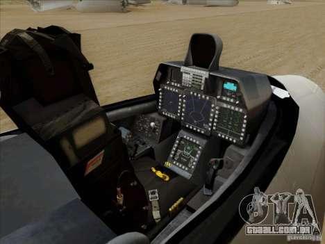 FA22 Raptor para GTA San Andreas vista interior