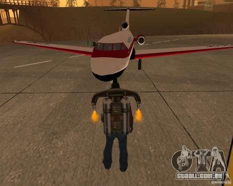 O avião Yak-40 para GTA San Andreas vista traseira