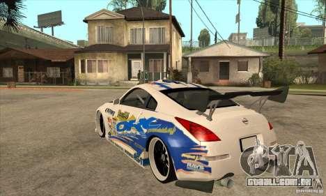 Nissan Z350 - Tuning para GTA San Andreas traseira esquerda vista