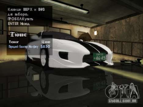 Toyota MR2 GT para GTA San Andreas vista interior