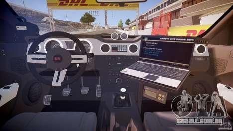 Saleen S281 Extreme Unmarked Police Car - v1.1 para GTA 4 vista de volta