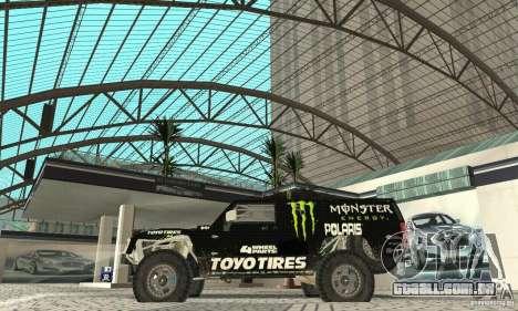 Hummer H3 Baja Rally Truck para GTA San Andreas traseira esquerda vista