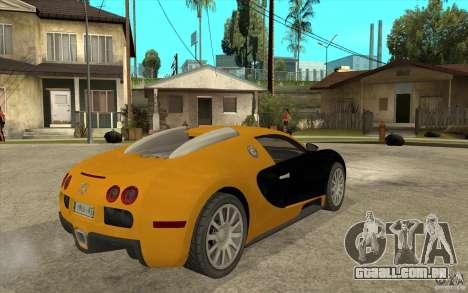 Bugatti Veyron v1.0 para GTA San Andreas vista direita